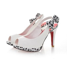 All-match open toe high-heeled sandals female leopard print bow sweet female shoes size(China (Mainland))