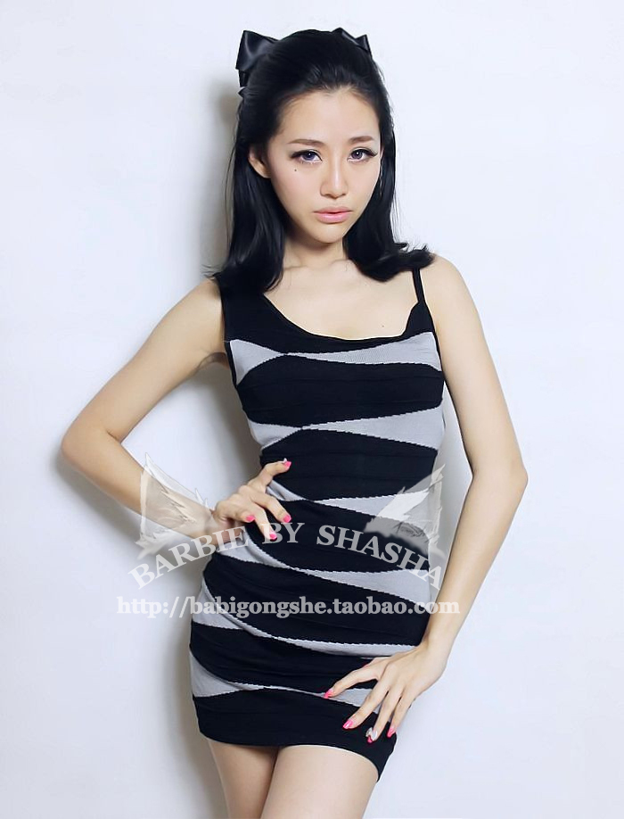 Fashion brief sexy classic black and gray stripe color block decoration asymmetrical shoulder strap knitted one-piece dress(China (Mainland))