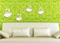 #26 Art gooses swans mirror wall decor, home decor shining fashion wall sticker mirror wall stickers 20PCS/LOT, free shipping