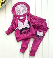 4 sets Girl's Cartoon Clothes Set Baby Kids Laced Minnie Sports Suit Children's Hoodie+Harem Pants 2pcs Garment Baby Clothing
