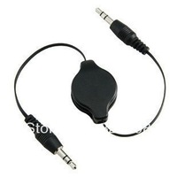 Free shipping New 3.5mm car audio cable stereo flexible connecting cord male to male Retractable Auxiliary line for ipad mp3
