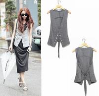 2013 casual fashion decoration button lacing gentlewomen slim waist vest Free Shipping