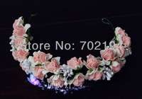 5x Wedding Bridal flower wreath Head hair pink and white garland for flower Alice band  HZW06 in free shipping