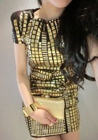 Free  shoping stylish new gold sequins geometry fit dress.Party dress TB 3150