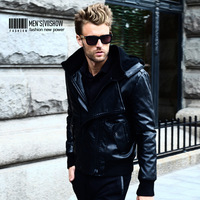 Free Shipping 2013 winter leather clothing fashion male slim detachable cap men's clothing outerwear