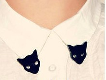 Fashion cute black cat collar clip brooches for women girl wholesale Min order is $10(mix order) BR53(China (Mainland))