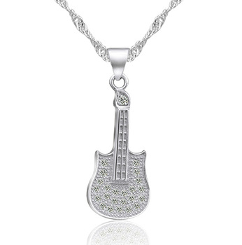 Jambalaya s925 pure silver platinum full rhinestone bling necklace the trend of fashion guitar pendant gift