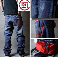 Men's jeans roll up hem men's clothing pants men's skateboard jeans