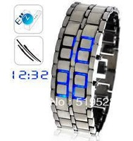 Valued High Quality Wholesale Free Shipping Cool LED Luxury Gentlemen Men's samurai blue led watch