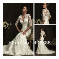 deep v-neckline mermaid lace 3 4 sleeve wedding dress