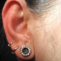 Fashion cute medical titanium rhinestone stud earring ear piercing