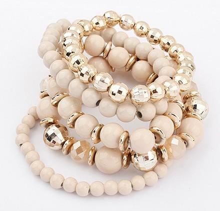 Hot Sale Fashion Jewelry 2013 Bohemian Style Summer Multi-layer Beige Beads Stretch Bracelets Sets Free Shipping 95008(China (Mainland))