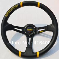 Free Shipping: Drifting Car Steering Wheel Deep Dish MOMO Racing Steering Wheel With Black Stitch