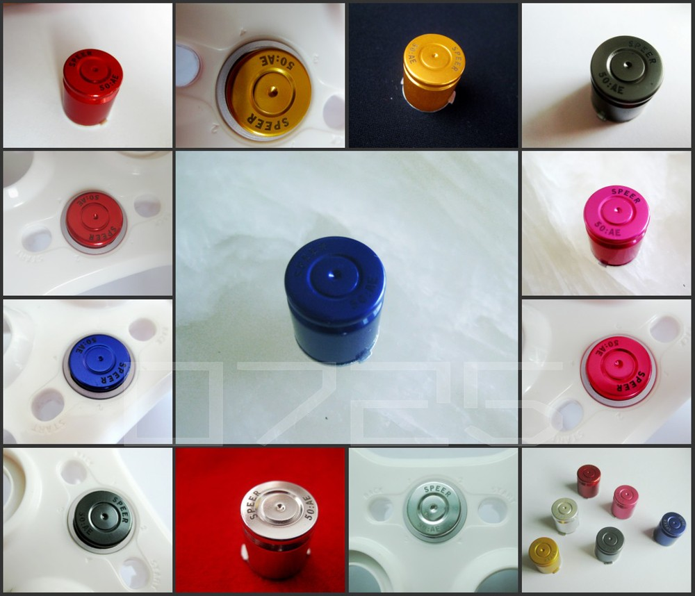 BLUE The type of bullet casings button chrome guide button for xbox360 controller(China (Mainland))