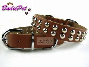 Dog collar Pet collar Dog necklace Genuine Leather dog collar with double classic leash(China (Mainland))