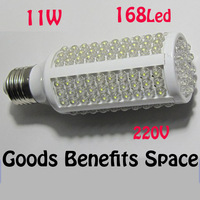 Free Shipping +1PC Ultra bright LED bulb 11W E27 220V Corn White/warm white light LED lamp with 168 led 360 degree Spot light