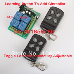 4 Relay CH DC12V Wireless Receiver&2 Transmitter Momentary Toggle Latched RF Remote Control Switch System LED SMD ON OFF(China (Mainland))