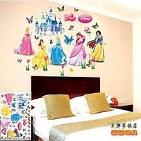 Cartoon child real walls decoration stickers girl large size second generation wall stickers princess free shipping