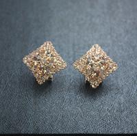 Austrian  earrings fashion female fashion stud earring quadripartite full rhinestone rose gold clip drop earring