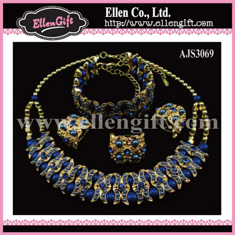 Factory Price+Free Shipping! Fashion Costume Bead Jewelry Set AJS3069(China (Mainland))