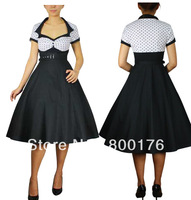 free shipping White Bodice Rockabilly Polka Dot Dress With Belt Rock and Roll Swing Dance dress