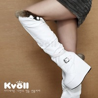 Kvoll autumn and winter boots ultra high heels rabbit fur platform wedges over-the-knee long boots leather buckle on