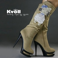 Kvoll scrub velvet beaded hellokitty platform high-heeled fashion boots gaotong