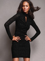 Fashion - black long-sleeve elastic lace net one-piece dress 2610 - 2