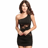Clothing black double oblique c sleeveless lace decoration slim hip sexy one-piece dress