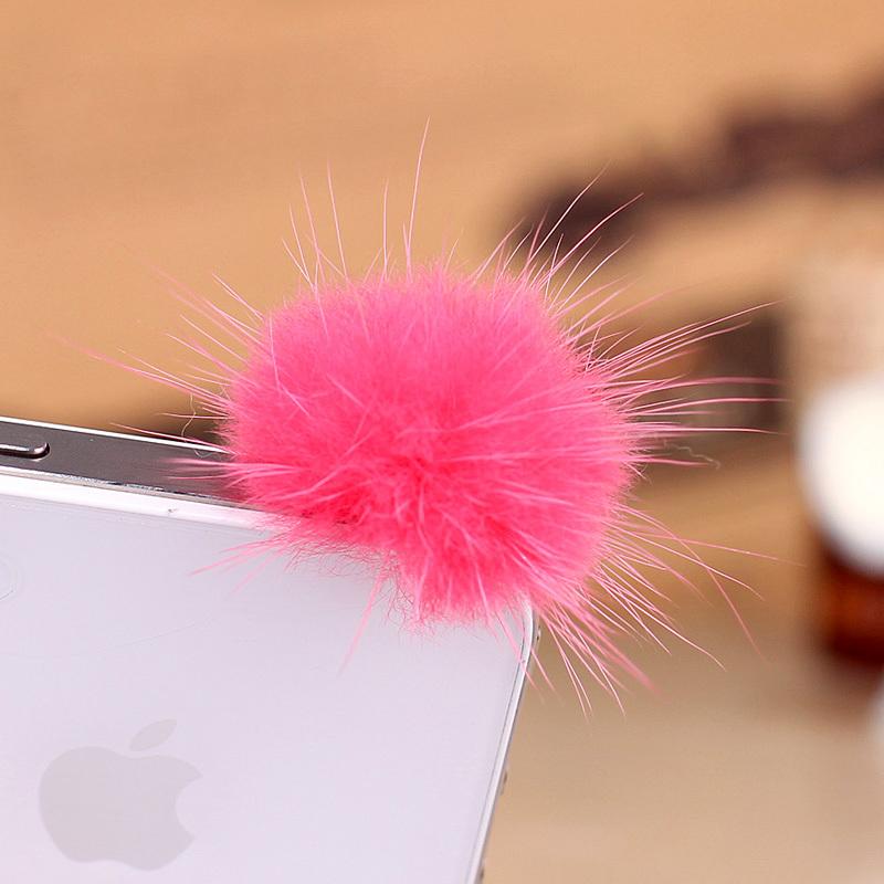 (Min order is $10) Mink fur ball for small apple mobile phone dust plug 3.5mm plug earphones c775(China (Mainland))
