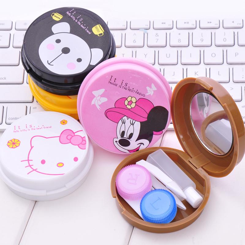 (Min order is $10) Cartoon circle contact lenses box mate box beautiful contact lenses care case d135(China (Mainland))