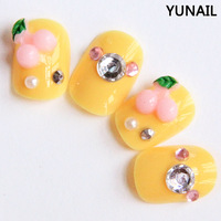 Free shipping Sweet mango yellow short design false nail pink cherry branches nail art patch decoration
