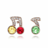 2014 Fashion Crystal stud Earrings Rose Gold Plated Zircon Earrings for Women and Girls Cute Jewelry wholesales Free Shipping