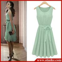 New Womens Lady Elegant Sleeveless Pleated Chiffon Vest Dress With Lining 3732 Pleated Sleeveless Dress Chiffon Dress WA145