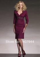 Free shipping purple chiffon knee length V-neck sheath three quater sleeves mother of the bride dress /mother dress with jacket