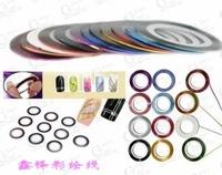 18 Mix Color Rolls Striping Tape Metallic Yarn Line Nail Art Decoration Sticker Free Shipping