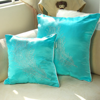Free shipping 2 pcs/lot  44x44cm cushion cover silk with diamond decoration light brown, blue ,pink three color available