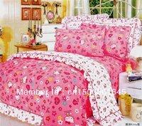2013 New Beautiful 100% Cotton 4pc Doona Duvet QUILT Cover Set bedding sets Full Queen King 4pcs cartoon pink hello kitty