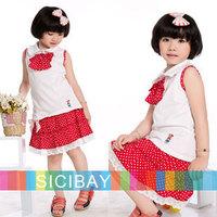 2014 summer fashion dot bow design girls dress clothing baby kids sleeveless girl dresses Free Shipping K0419