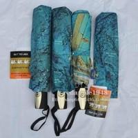 2013 Export San Xiang Three Elephants fully-automatic umbrellas folding umbrella with World Map free shipping