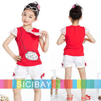 Girls Suits Free Shipping Girls Summer Fashion Suits Navy Style Red Tshirts + Cute White Shorts  K0420