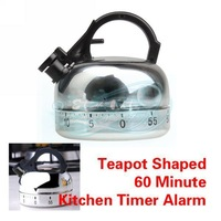 Teapot Shaped 60 Minute Kitchen Timer Alarm Mechanical Timer Clock Counting