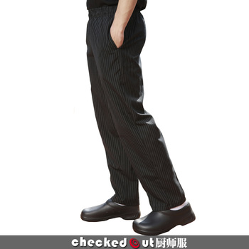 Top level meters 820226 chefs uniform work clothes work wear female male black and white stripes cook suit pants
