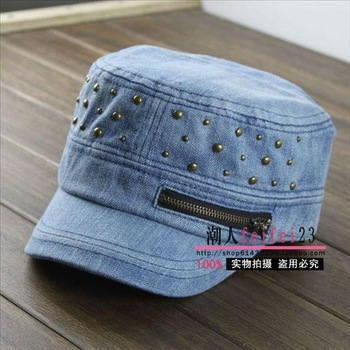 Cap vintage zipper rivet cadet cap cadet cap denim fashion military hat male women's hat
