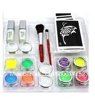 Free shipping UV Glitter tattoo kit 8 colors with powder/glue tube/brush/stencil   FBK8