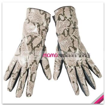 Limited edition women's 27cm medium-long crocodile genuine leather gloves serpentine pattern print sheepskin gloves