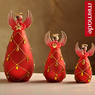 New Festive red diamond wedding gift home decoration angel accessories by set(China (Mainland))