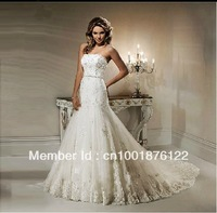 2013 new wedding Europe and the United States diamond beaded lace waist fishtail trailing Slim was thin