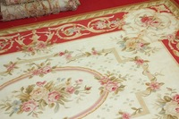 2x3m  Hand Woven Aubusson Area Rug RED IVORY PINK French Wool  Floor Carpet Decorative