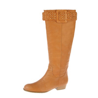 free shipping genuine knitted leather buckle flat heel cool boots flat heel boots 32110
